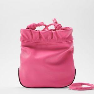 Zara pink mini bucket bag